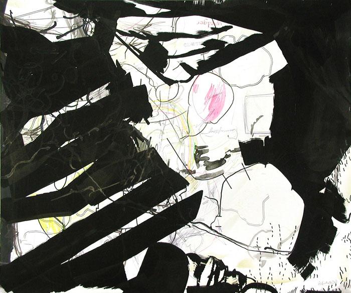 """Zeichnung von Wolfgang Kschwendt: """"upledger - bellowed"""", 65 x 50 cm, Mixed Media auf Karton"""