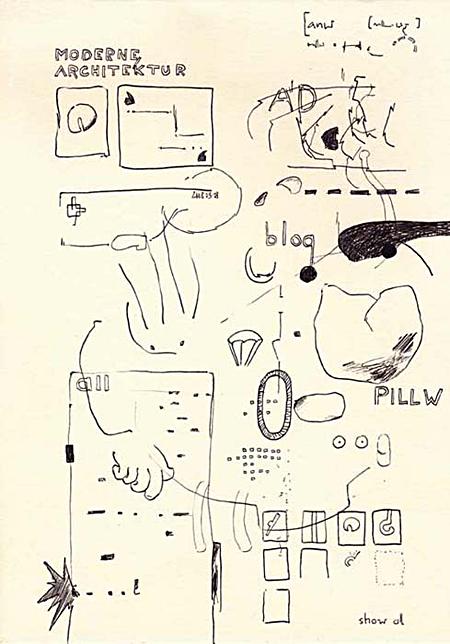 "Wolfgang Kschwendt, drawing, ""cut-leave-promise"", A4, ballpen on paper"
