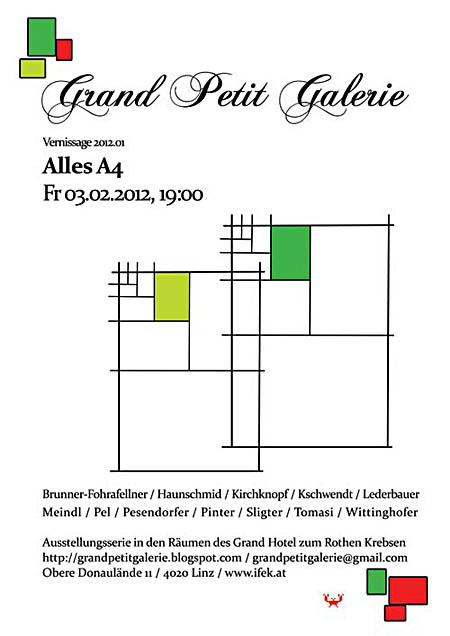 "Flyer zur Ausstellung ""Alles A4 - Everything A4"" in der Grand Petit Galerie in Linz"