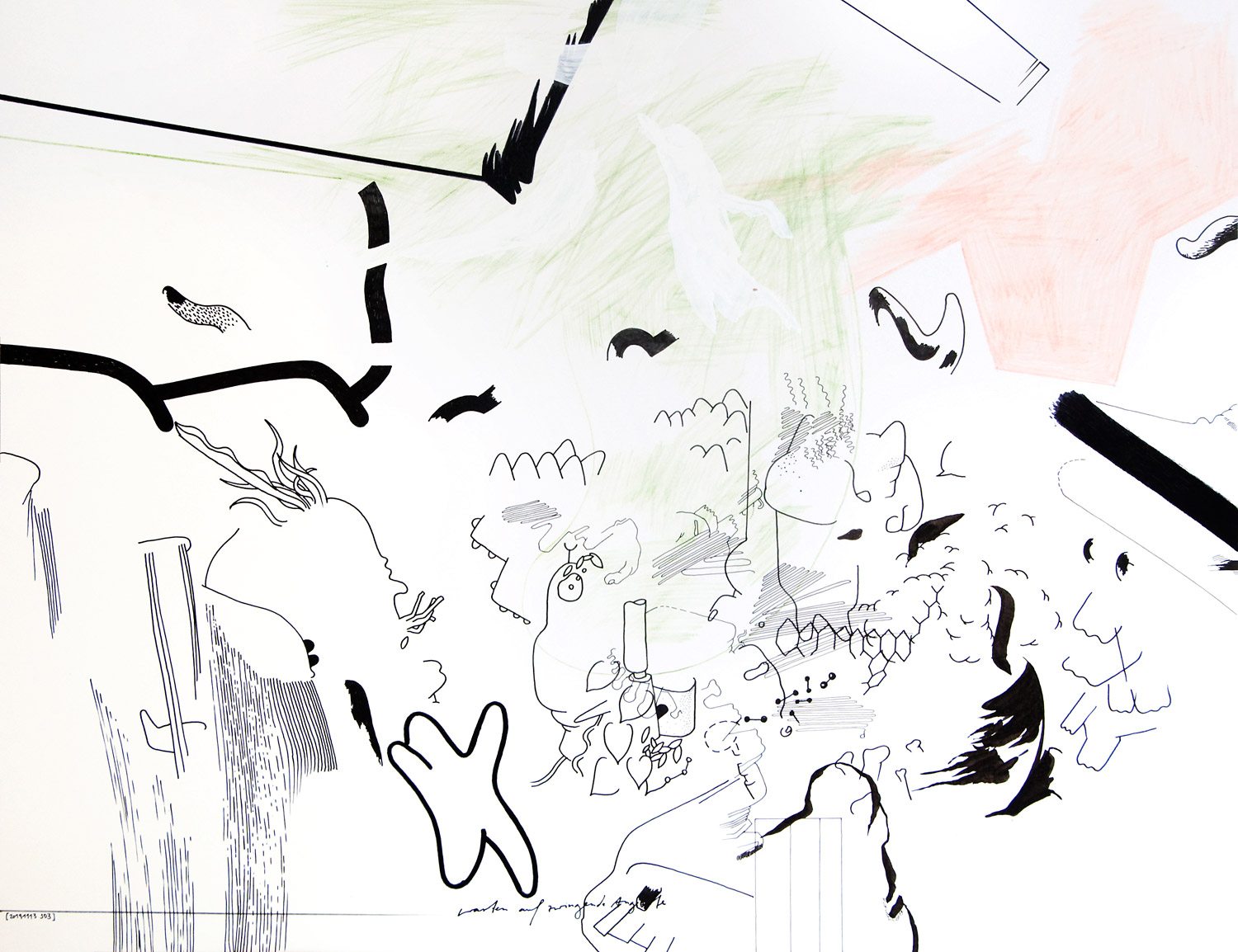 """Wolfgang Kschwendt: Drawing - """"Warten Auf Zwingende Angebote (Waiting For Compelling Offers)"""""""