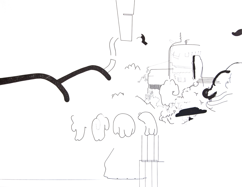 "Wolfgang Kschwendt: Drawing - ""Zwischendurch hört man Meisen (In Between You Can Hear Titmice)"""