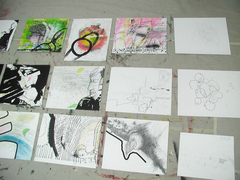 Wolfgang Kschwendt - Studio view - Drawings