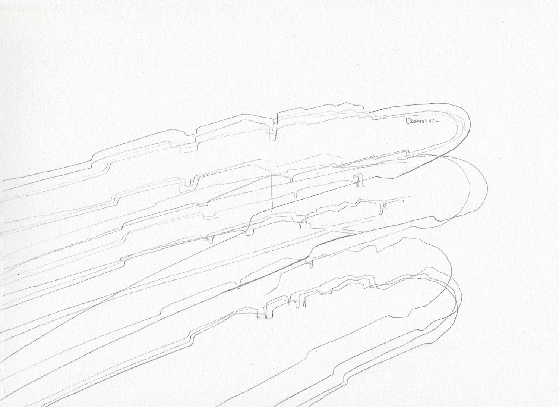 "Wolfgang Kschwendt - Drawing: ""feld 04 - Hohe Regionen Stille Fragen (high regions silent questions)"" - pencil, paper, DINA4 - 2014"