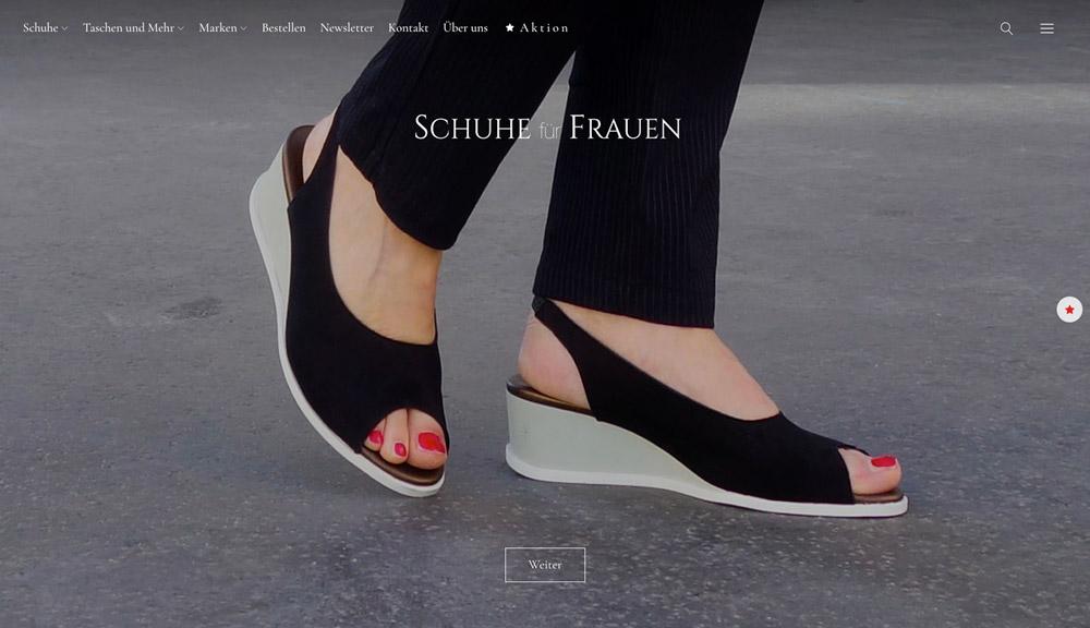 screenshot website schuhefuerfrauen.at