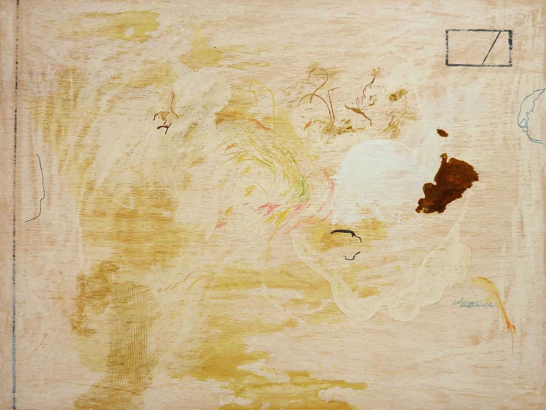 """Wolfgang Kschwendt: """"Wohinaus Treibt Es Mich"""", 60 x 45 cm, mixed media on wood, 2020"""